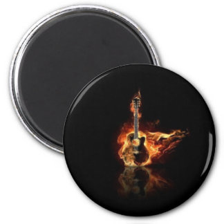 Guitar on fire magnet