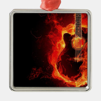 Guitar on fire metal ornament