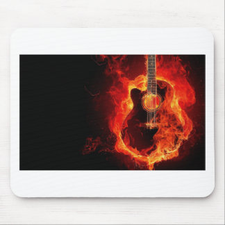 Guitar on fire mouse pad
