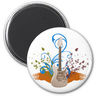 Guitar on Flowers 2 Inch Round Magnet