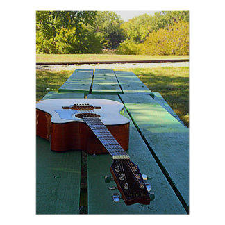 Guitar on picnic table Poster