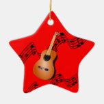 Guitar on Star-shaped red Christmas ornament