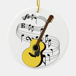 Guitar Double-Sided Ceramic Round Christmas Ornament