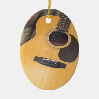 guitar Double-Sided oval ceramic christmas ornament