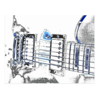guitar outline image blue black bridge strings.jpg postcard
