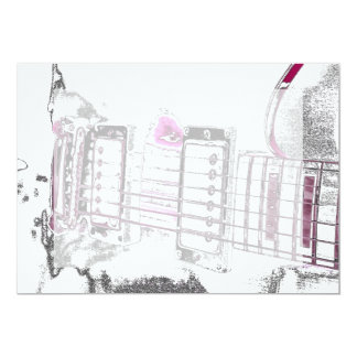 guitar outline image pink black bridge 5x7 paper invitation card