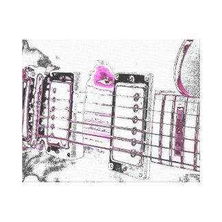 guitar outline image pink black bridge canvas print