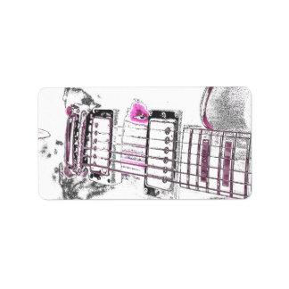 guitar outline image pink black bridge labels