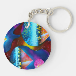 Guitar outline spraypainting pyramids instruments Double-Sided round acrylic keychain