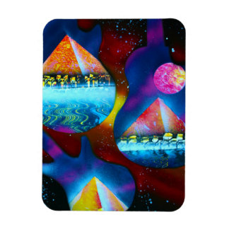 Guitar outline spraypainting pyramids instruments magnet