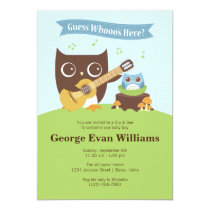 Guitar Owl Sip and See Baby Boy Shower Invitation