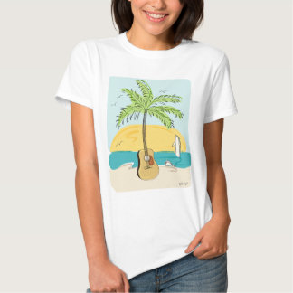 Guitar Palm at Sunset on the Beach Tshirts