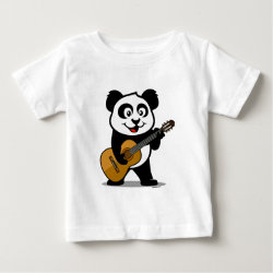 Baby Fine Jersey T-Shirt with Guitar Panda design