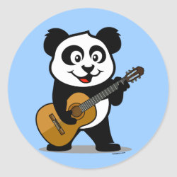 Round Sticker with Guitar Panda design