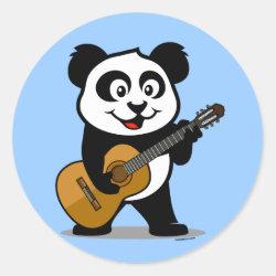 Round Sticker with Guitar Panda design