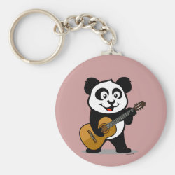 Basic Button Keychain with Guitar Panda design