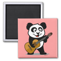 Square Magnet with Guitar Panda design