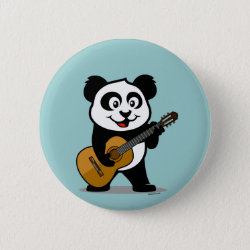 Round Button with Guitar Panda design