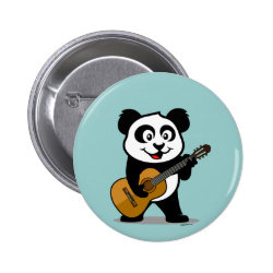 Round Button with Guitar Panda design
