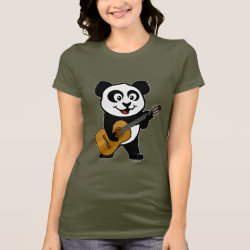 Women's Bella Jersey T-Shirt with Guitar Panda design