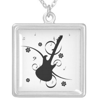 guitar party floral music silhouette necklace