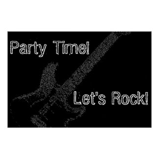 Guitar Party Time Birthday Poster