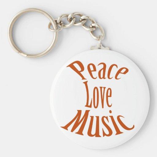 Guitar Peace Love Music Key Chain