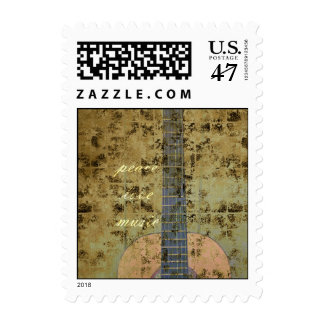 Guitar Peace Love Music Postage
