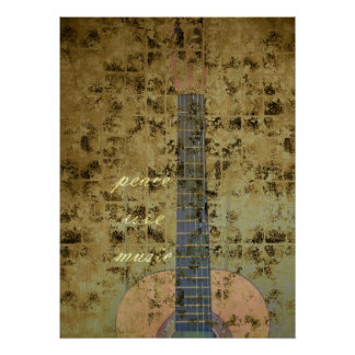 Guitar Peace Love Music Poster