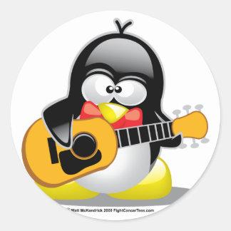 Guitar Penguin Classic Round Sticker