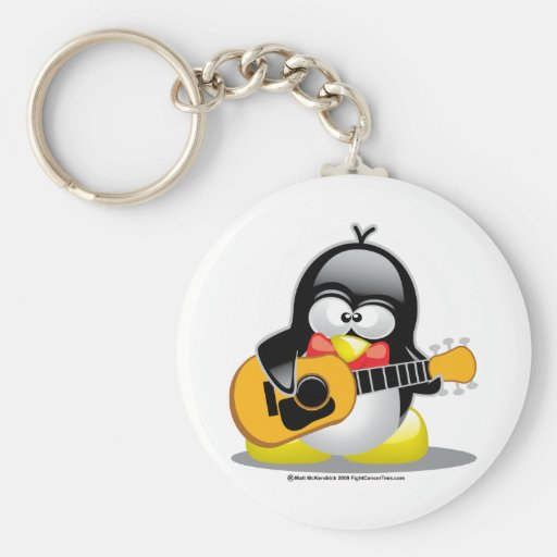 Guitar Penguin Keychains