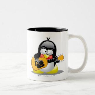 Guitar Penguin Two-Tone Coffee Mug