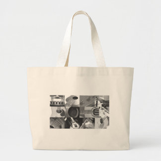 Guitar Photography Collage - black and white Canvas Bag