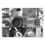 Guitar Photography Collage - black and white Greeting Card