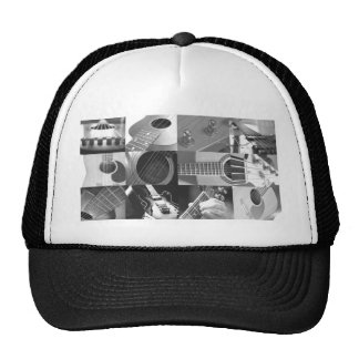 Guitar Photography Collage - black and white Hats