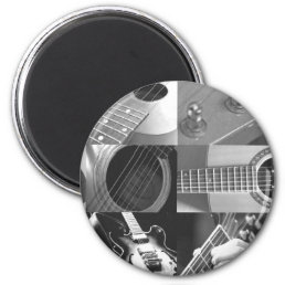 Guitar Photography Collage - black and white Magnet