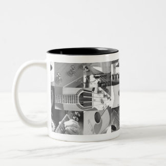 Guitar Photography Collage - black and white Coffee Mugs