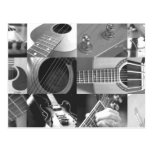 Guitar Photography Collage - black and white Postcards