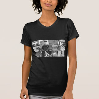 Guitar Photography Collage - black and white Tee Shirts