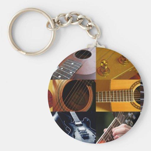Guitar Photos Collage Basic Round Button Keychain