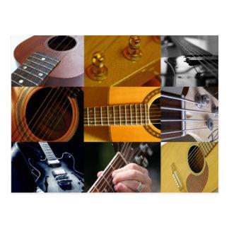 Guitar Photos Collage Post Card