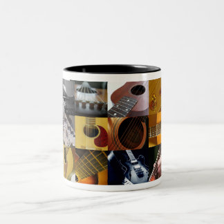 Guitar Photos Collage Two-Tone Coffee Mug