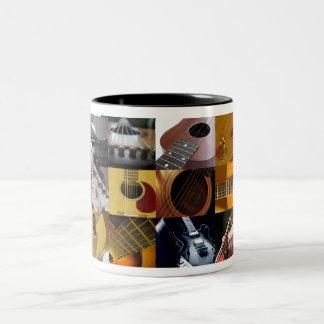 Guitar Photos Collage Two-Tone Coffee Mug
