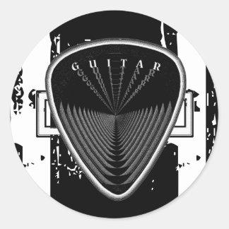 Guitar Pick Black & White Classic Round Sticker