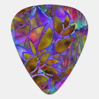 Guitar Pick Floral Abstract Stained Glass