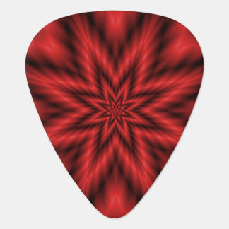Guitar Pick  Fuzzy Star in Red