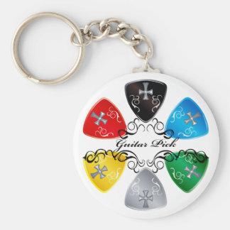 Guitar Pick Round Basic Round Button Keychain