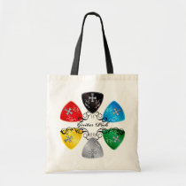 illustration, guitar, guitar-pick, music, rock, rock-and, roll, colorful, black, red, yellow, gray, blue, punk, bass, band, graphic, design, round, triangle, Bag with custom graphic design