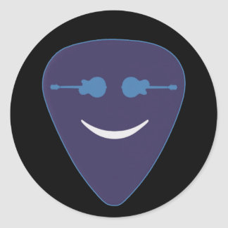 guitar pick smile face classic round sticker