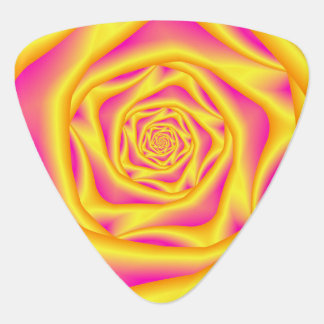Guitar Pick   Spiral Rose in Yellow and Pink
